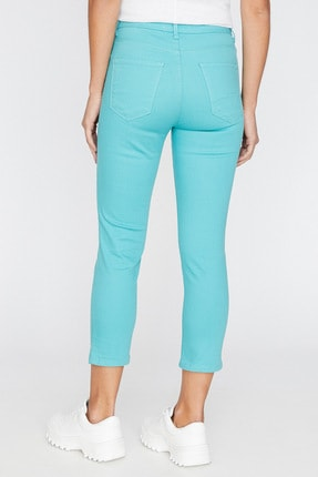 Koton Kadın Yeşil Cep Detayli Pantolon 9YAL41331MW 4