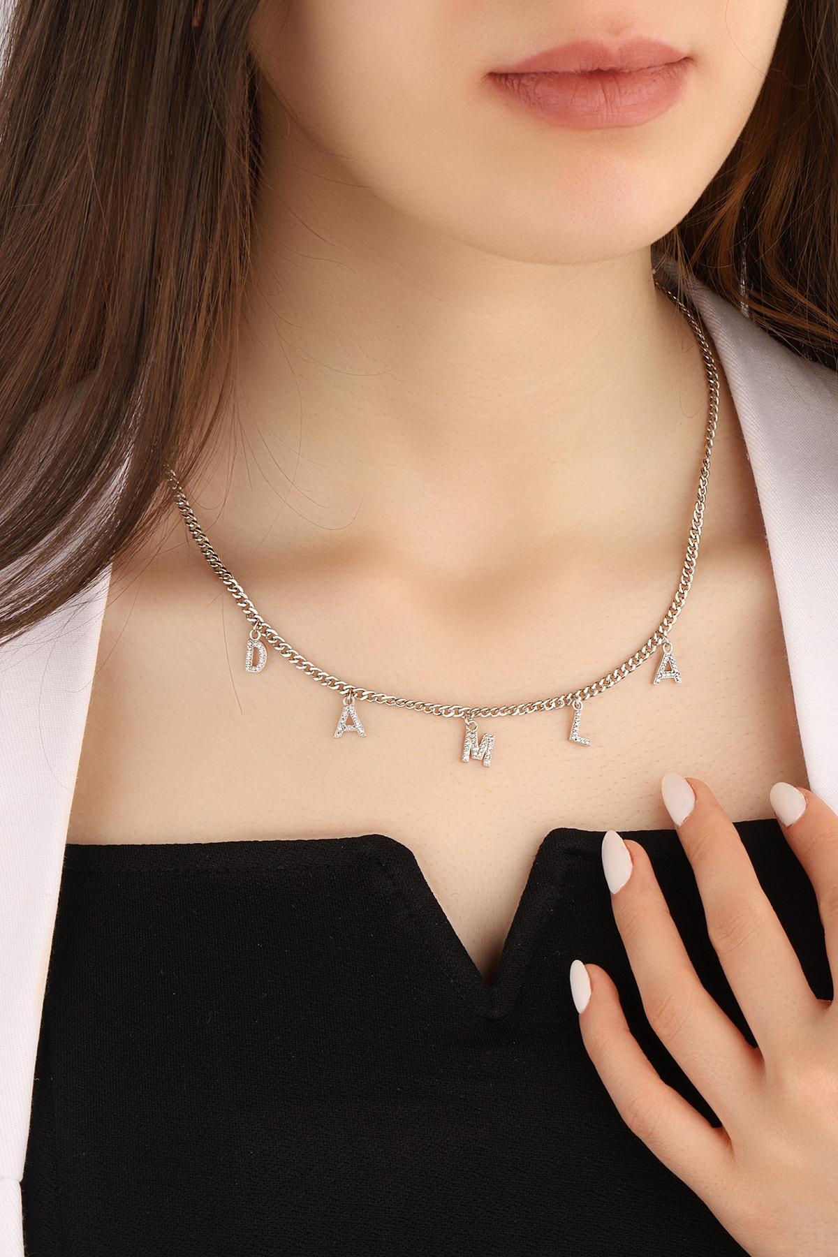 Kadın Gurmet Zincirli 925 Ayar Gümüş Isim Kolye