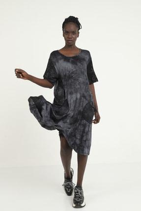 Kadın Siyah Midi Boy Dantel Detaylı Cepli Kısa Kol Elbise 2510211