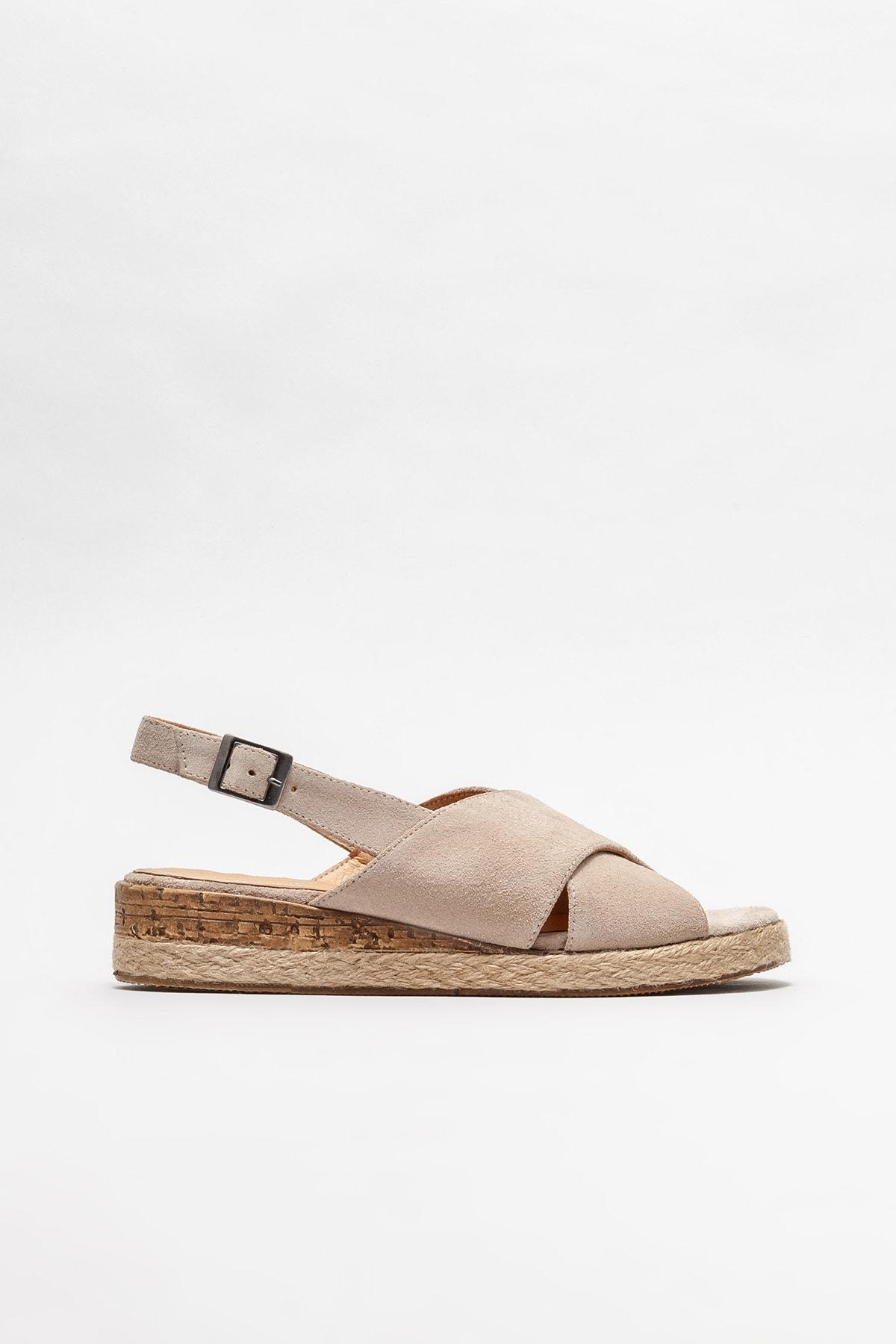 Kadın Bej Deri Dolgu Topuklu Sandalet