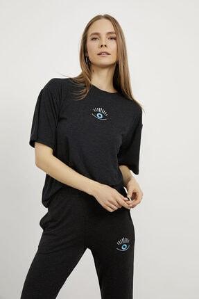 Arma Life Kadın Gri Göz Nakışlı T-shirt Pantolon Takım 1
