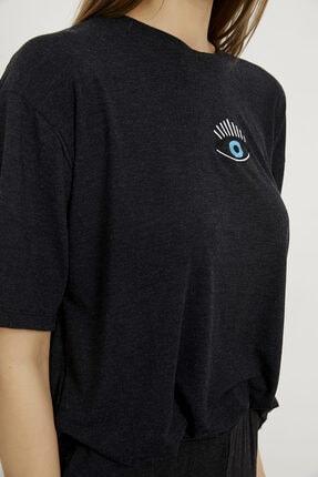 Arma Life Kadın Gri Göz Nakışlı T-shirt Pantolon Takım 3