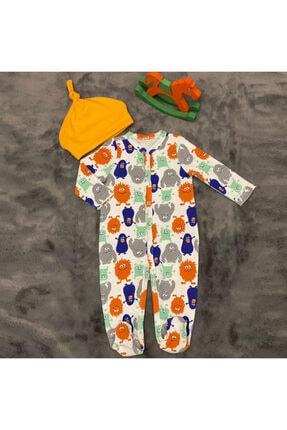 PİEROSBABY Pieros Baby 0072 Erkek Bebek 2'li Tulum Şapkalı 1