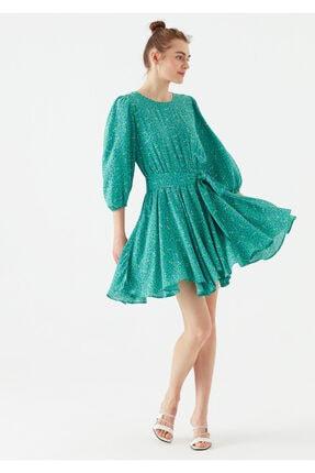 Mavi Kadın Yeşil Çiçek Baskılı Yeşil Elbise 1