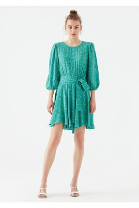 Mavi Kadın Yeşil Çiçek Baskılı Yeşil Elbise 3