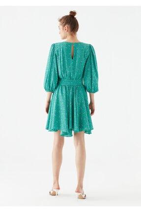Mavi Kadın Yeşil Çiçek Baskılı Yeşil Elbise 4