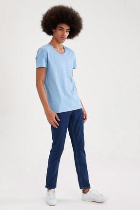 Defacto Slim Fit V Yaka Basic Kısa Kollu Mavi Tişört 1
