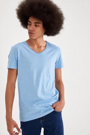Defacto Slim Fit V Yaka Basic Kısa Kollu Mavi Tişört 3