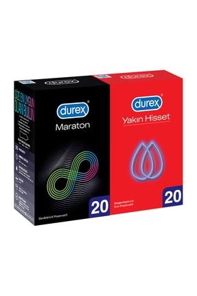 Durex Maraton Geciktiricili 20'Li + Yakın Hisset 20'Li Prezervatif Avantaj Paketi 0