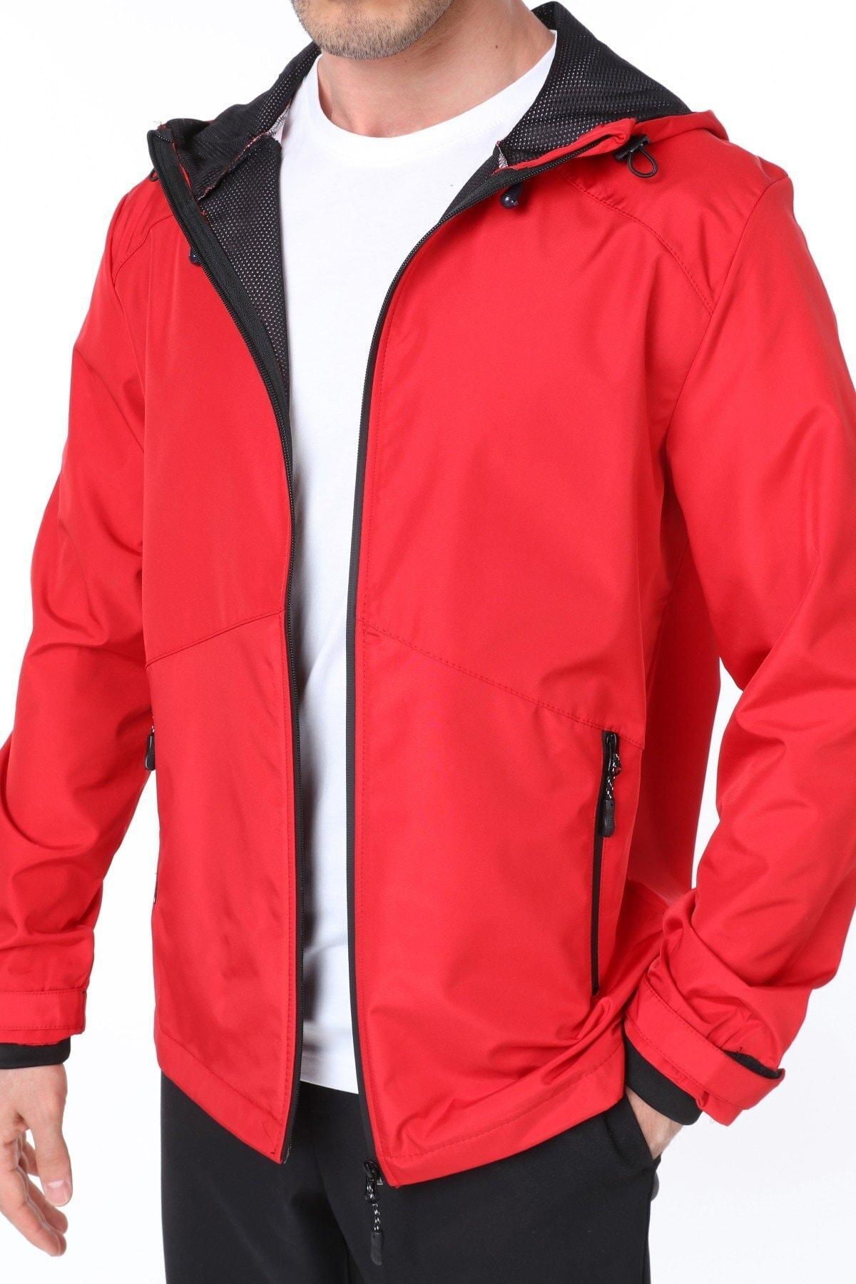 Erkek Kırmızı Rüzgarlık/Yağmurluk Outdoor Omuz Detaylı Mevsimlik Spor Ceket