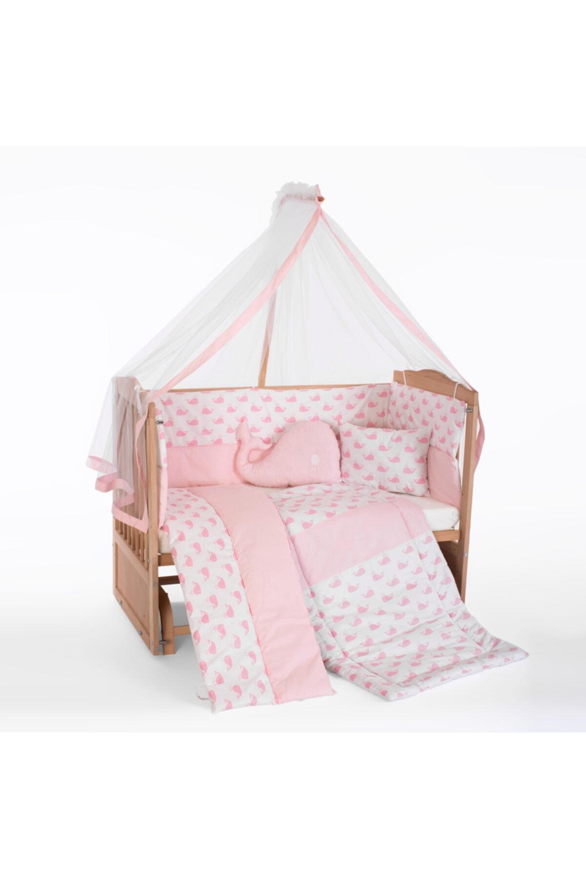 Bebek Uyku Seti Takımı 9 Parça 60 X 120 cm + Pembe Balina
