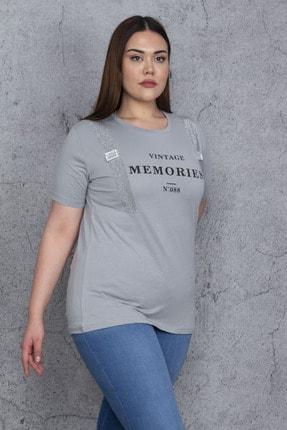Şans Kadın Gri Taş Ve Baskı Detaylı Bluz 65N24019 1