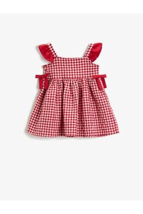 Koton Kız Çocuk Kırmızı Kareli Pamuklu Fiyonklu Elbise 0
