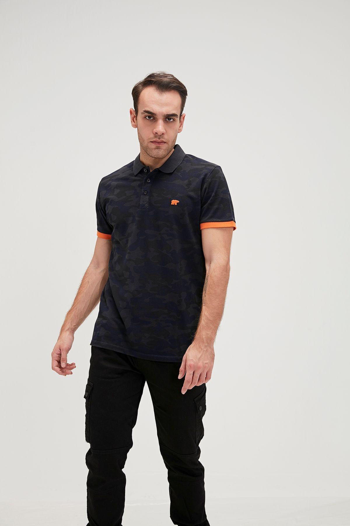 Erkek Siyah Turuncu Polo Yaka Spor Tshirt
