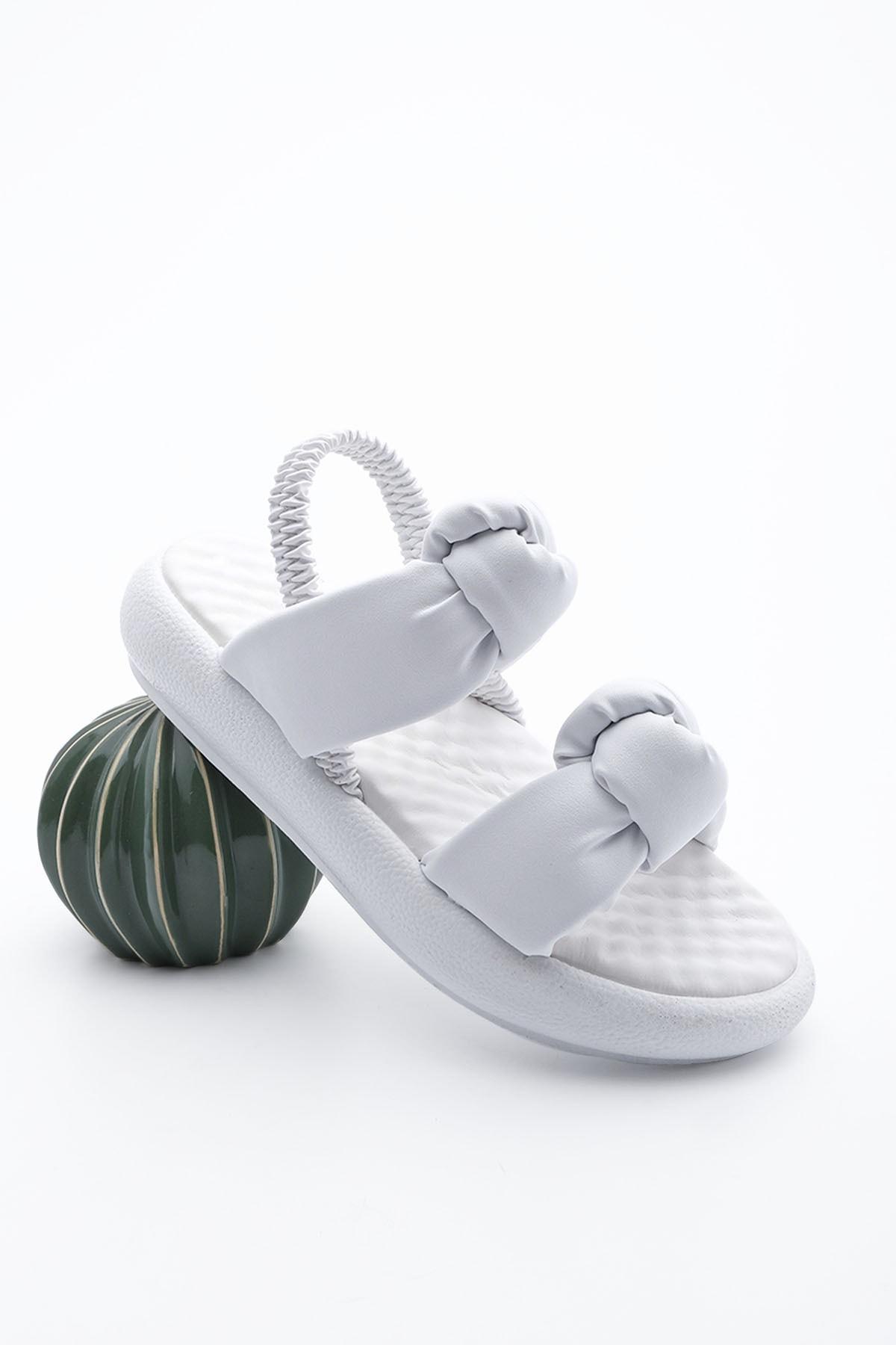 Kadın Dolgu Topuk Sandalet HorevBeyaz