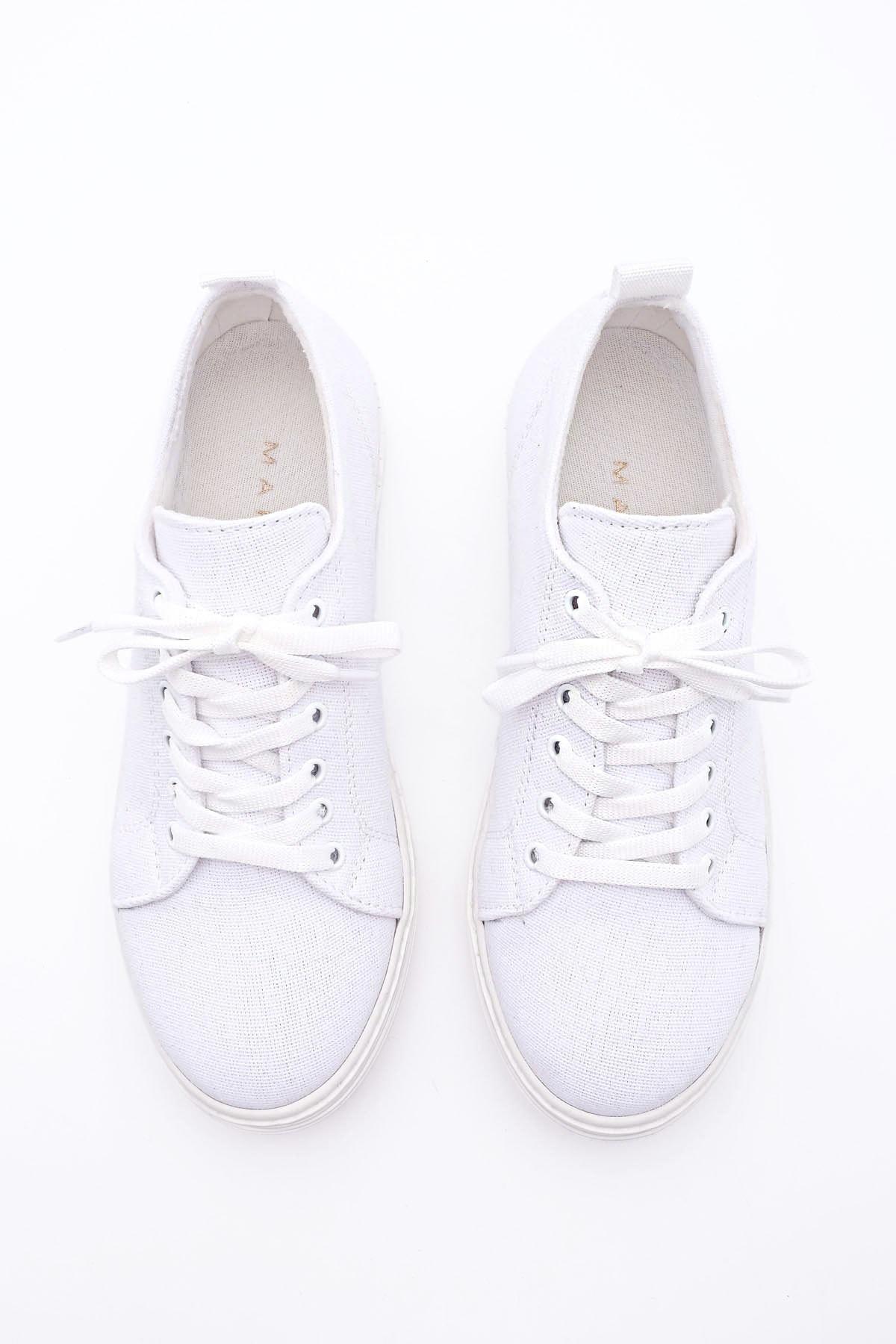 Marjin Kadın Sneaker Keten Spor Ayakkabı RulazBeyaz 2