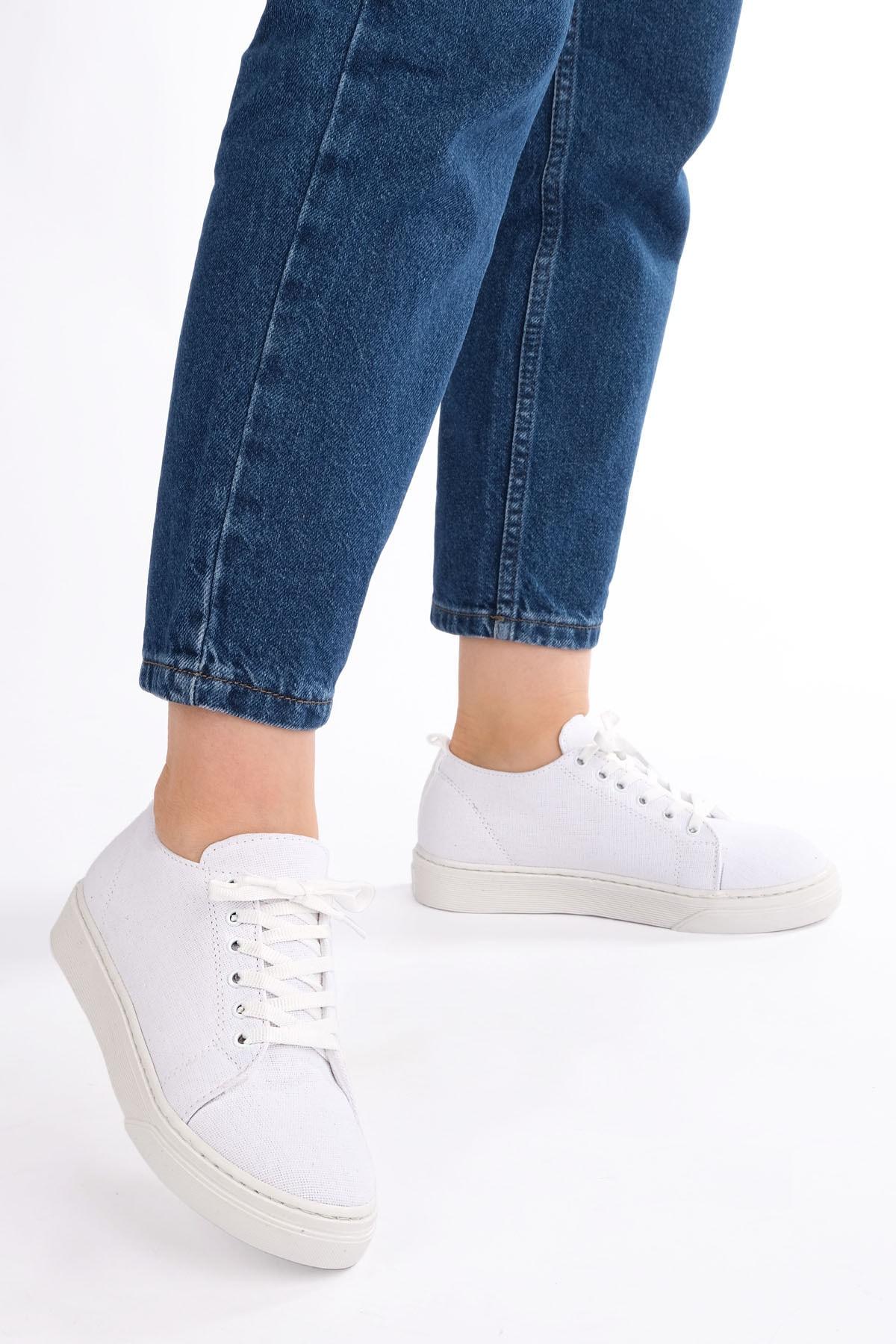 Marjin Kadın Sneaker Keten Spor Ayakkabı RulazBeyaz 3