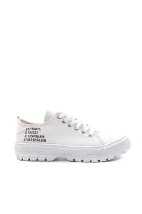 Bambi Beyaz Keten Kadın Sneaker K01530110518 1