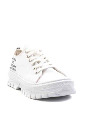 Bambi Beyaz Keten Kadın Sneaker K01530110518 2