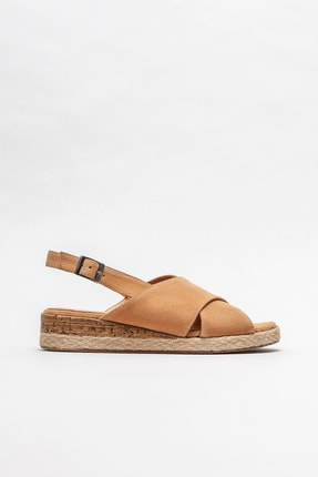 Elle Kadın Naturel Deri Dolgu Topuklu Sandalet 0