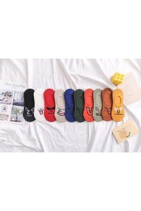 BGK Unisex Renkli Yüz Desenli Babet Çorap 10'lu 3
