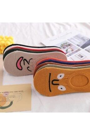 BGK Unisex Renkli Yüz Desenli Babet Çorap 10'lu 4