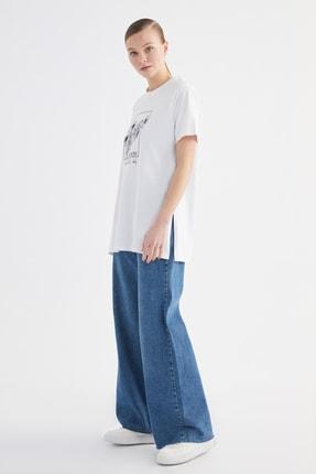 Trendyol Modest Beyaz Baskılı Örme T-Shirt-Tunik TCTSS21TN0275 1