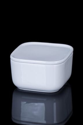 ACAR Pure White Porselen Kare Kapaklı Kase - 9 cm 0