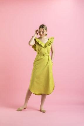 Fıstık Yeşili Koton Fırfırlı Elbise TYC00139369734