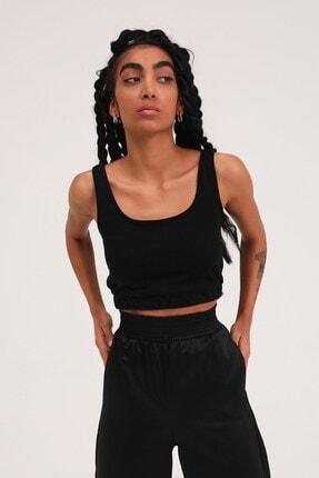 Quzu Kadın Siyah Kalın Askılı Crop Bluz 0