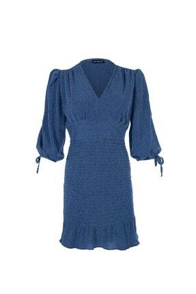 Quzu V Yaka Gipeli Elbise Indigo 0