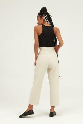Quzu Kadın Düğme Aksesuarlı Yüksek Bel Pantolon Taş 4
