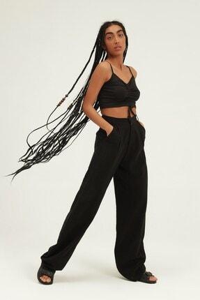 Quzu Kadın Siyah Yüksel Bel Bol Paça Pantolon 0