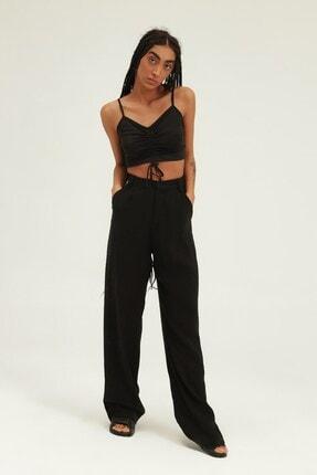 Quzu Kadın Siyah Yüksel Bel Bol Paça Pantolon 3