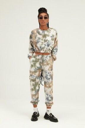 Quzu İKadın ndigo Batik Desenli Nakışlı Sweatshirt 3