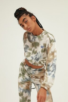 Quzu İKadın ndigo Batik Desenli Nakışlı Sweatshirt 4