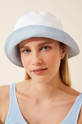 Happiness İst. Kadın Mavi Beyaz Çift Taraflı Bucket Şapka PD00030 0