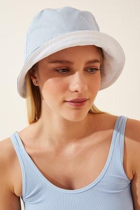 Happiness İst. Kadın Mavi Beyaz Çift Taraflı Bucket Şapka PD00030 1