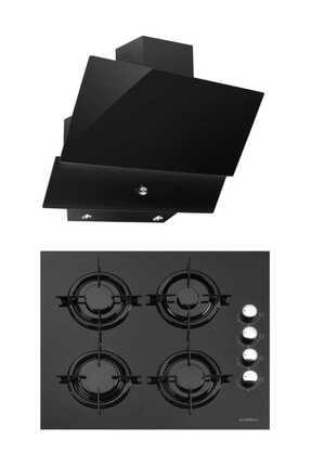 Luxell Kristal İkili Siyah Cam Ankastre Set(Ocak+Davlumbaz) 0