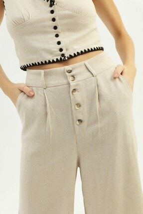Quzu Kadın Naturel Keten Bol Pantolon 3