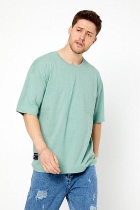 Tarz Cool Erkek Yeşil Basic Kısa Kollu Oversize T-shirt-dzovrszetr07s 0