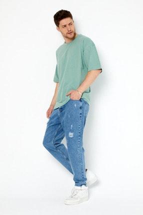 Tarz Cool Erkek Yeşil Basic Kısa Kollu Oversize T-shirt-dzovrszetr07s 3