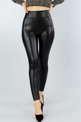 Md1 Collection Kadın Siyah Suni Deri Pantolon Siyah Suni Deri Tayt 3