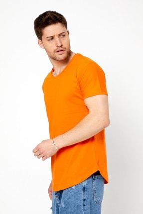 Tarz Cool Erkek Koyu Turuncu Pis Yaka Salaş T-shirt-tcps001r52m 2