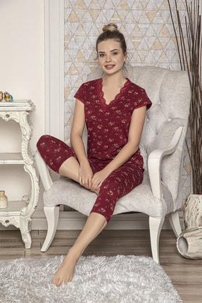 MODAREYA Kadın Bordo Kısa Kollu Kaprili Slim Fit Pijama Takımı 0