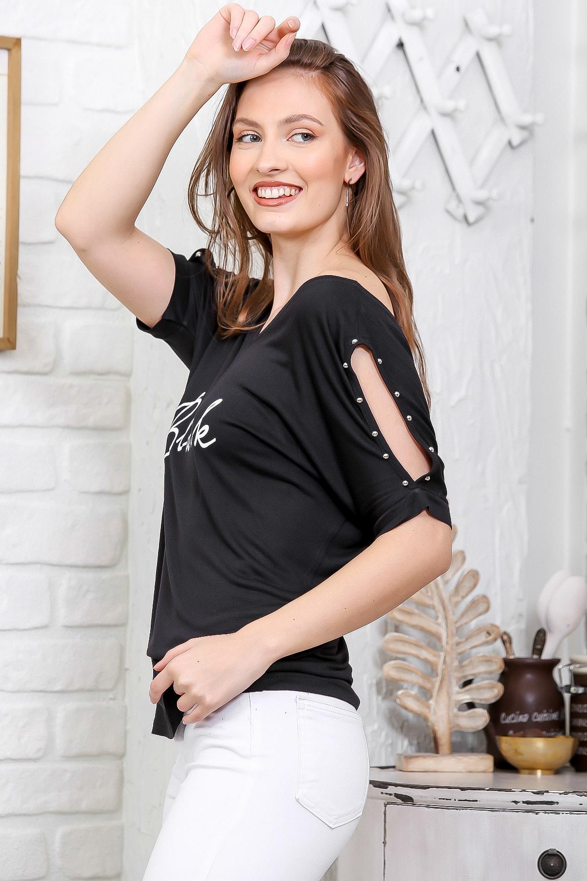 Chiccy Kadın Siyah Ön Arka V Yaka Omuz Pencereli Baskılı T-Shirt M10010300TS98278 2