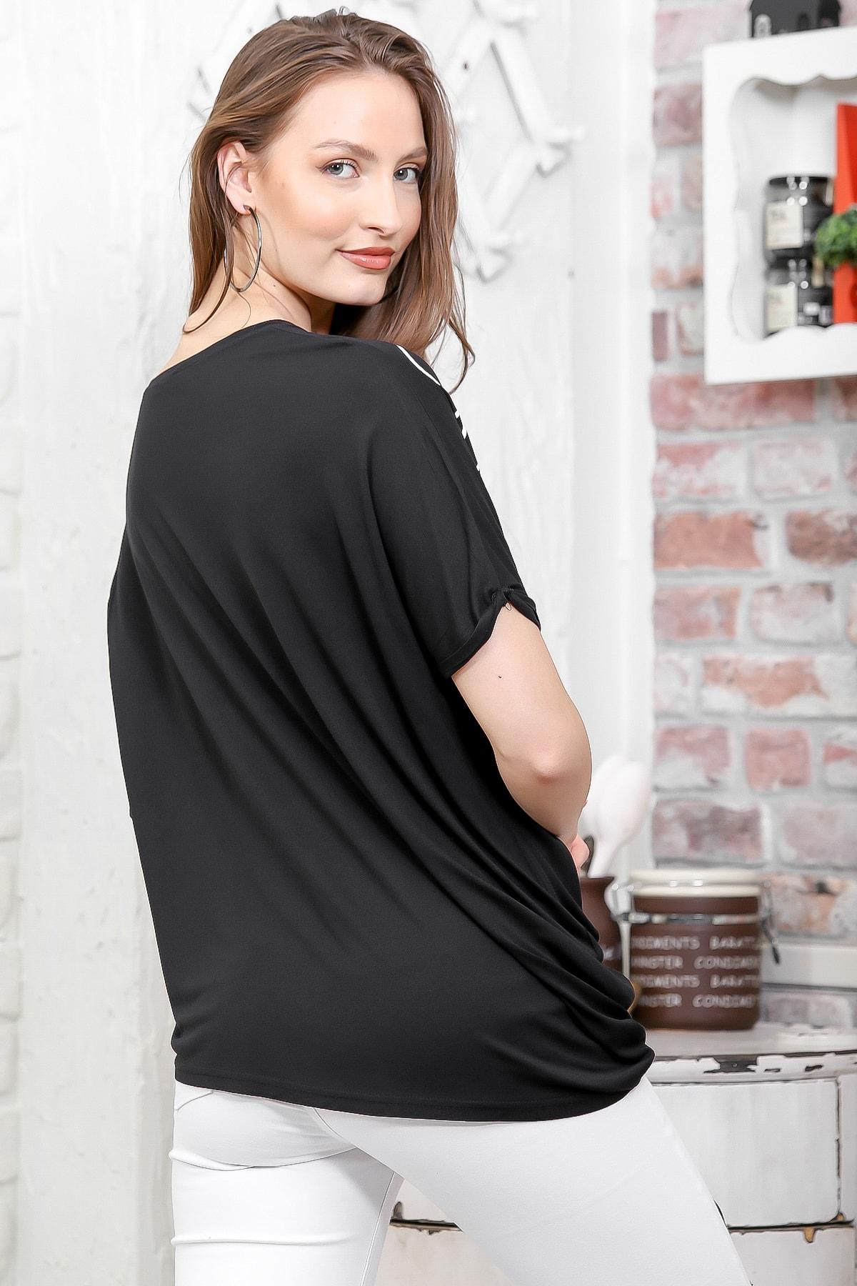 Chiccy Kadın Siyah Sıfır Yaka Yanı Asimetrik Baskılı Salaş T-Shirt M10010300TS98261 2