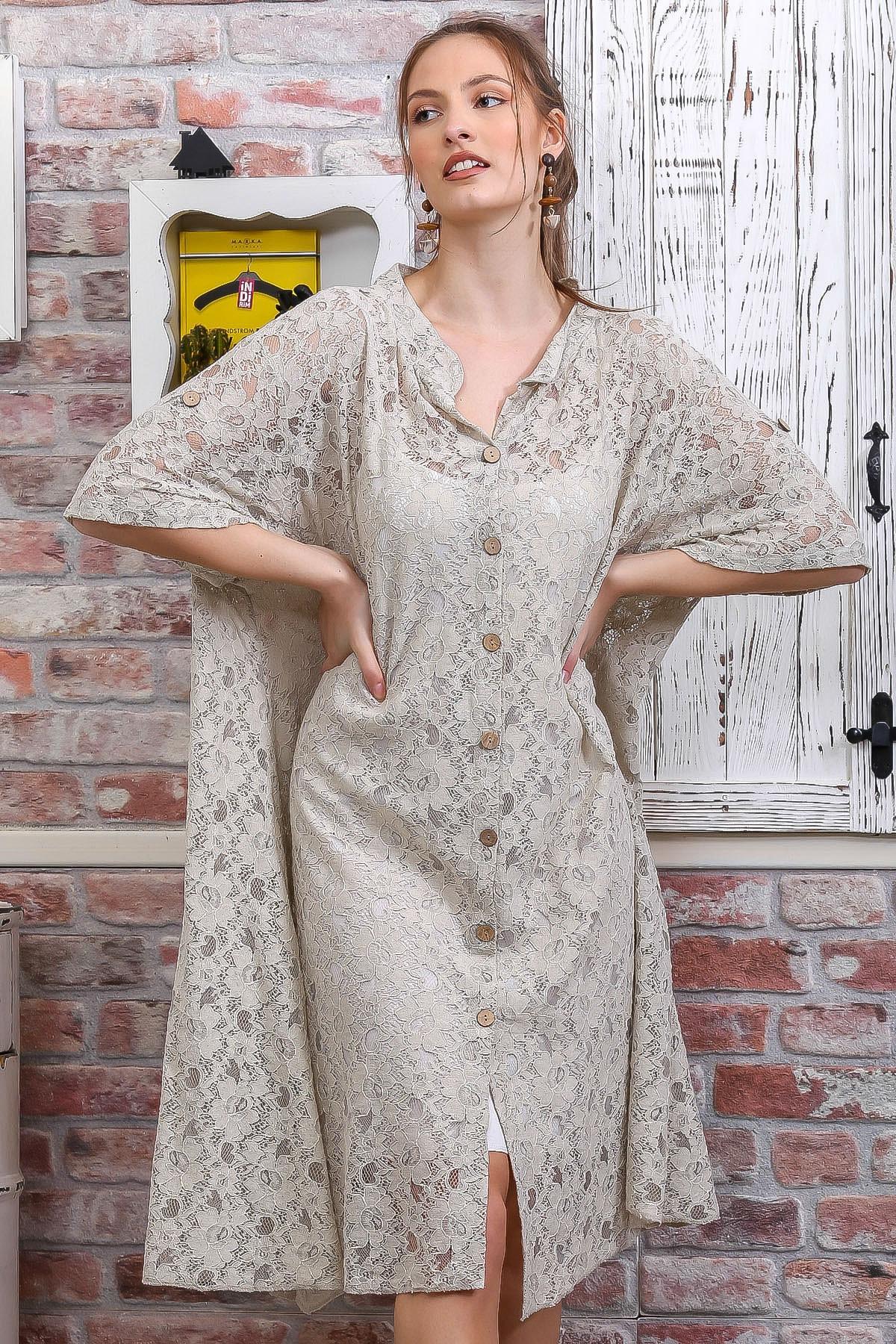 Kadın Bej Dantel Düğme Detaylı Salaş İçi Askılı İkili Elbise M10160000EL95089