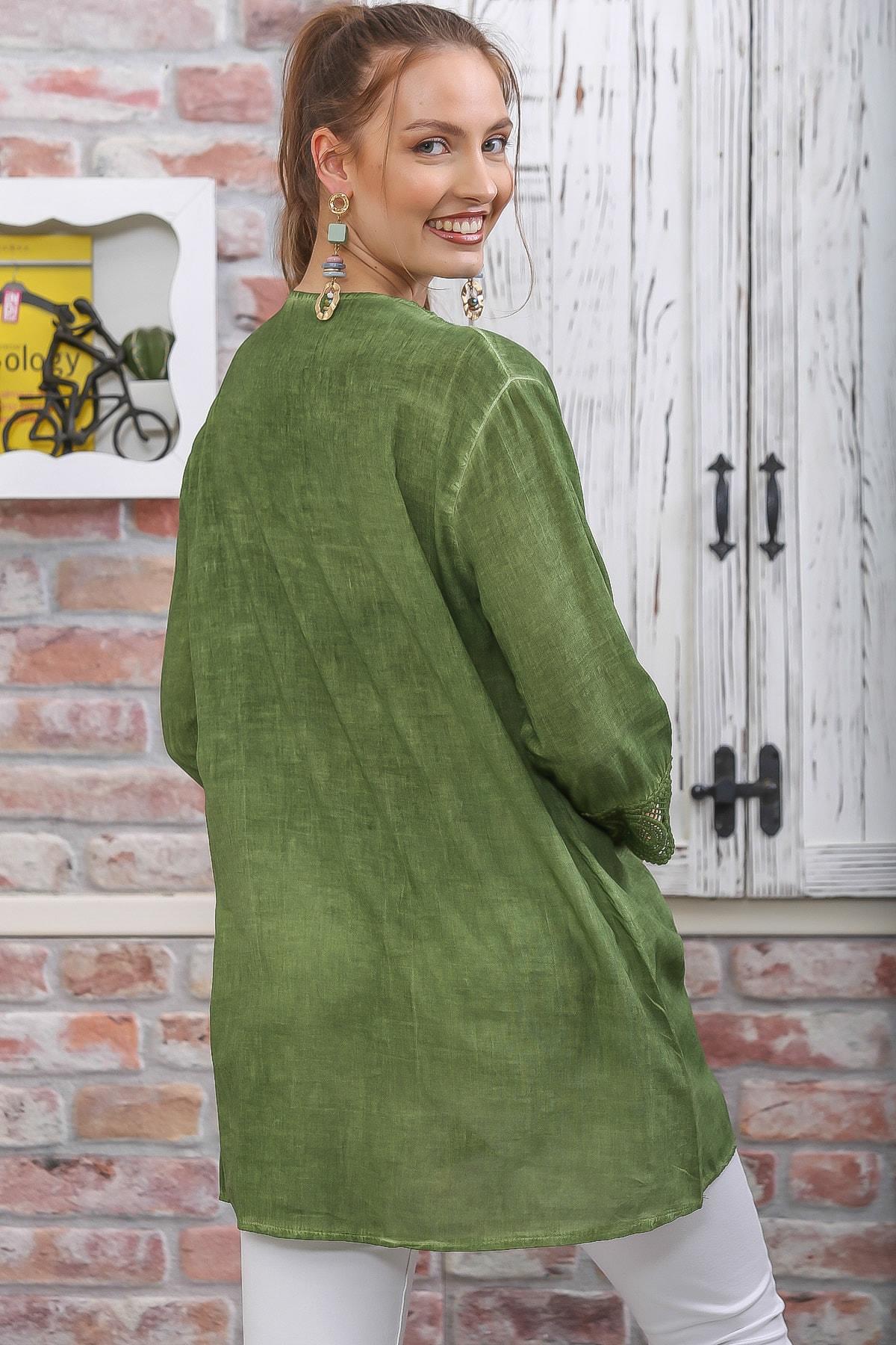 Chiccy Kadın Yeşil Dantel Şerit Detaylı 3/4 Kol Dokuma Bluz M10010200BL95437 1