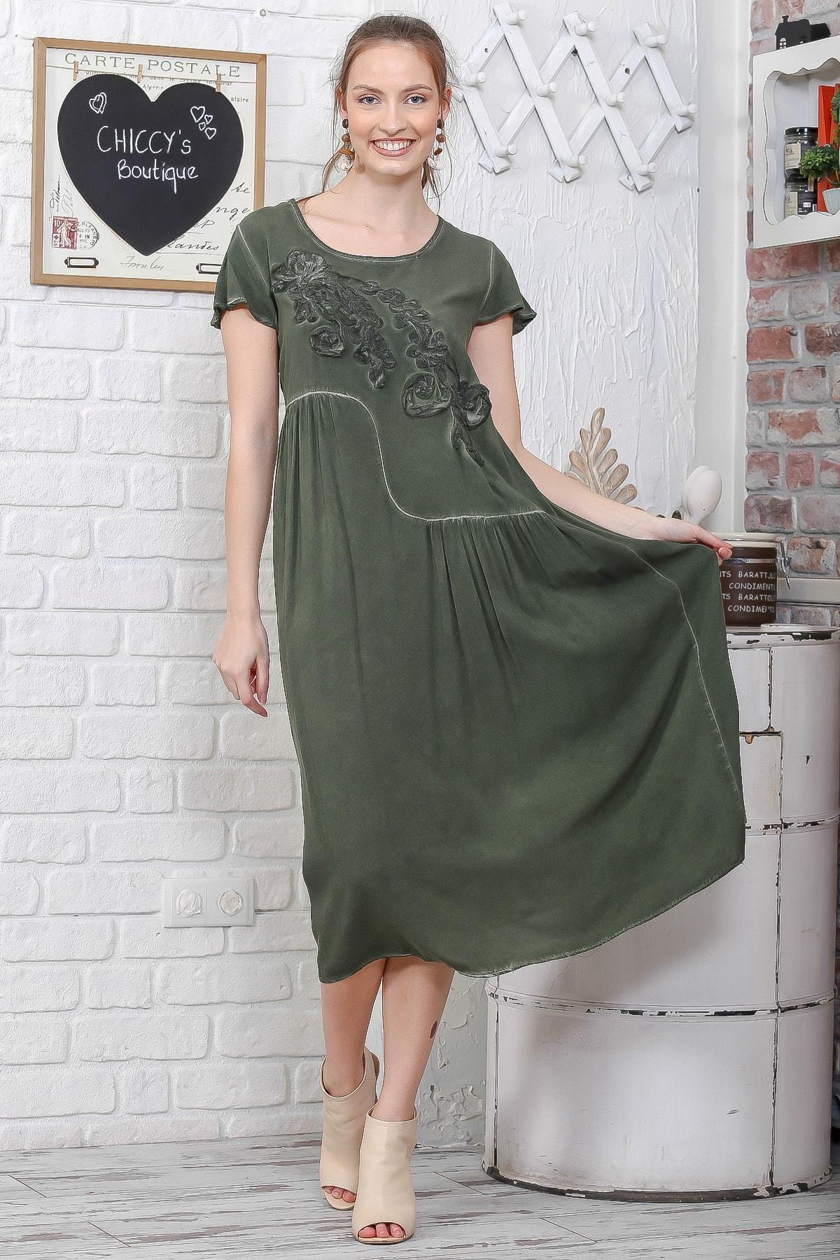 Chiccy Kadın Haki Sıfır Yaka Süzene Çiçek Aplikeli Salaş Yıkamalı Elbise M10160000EL95109 0